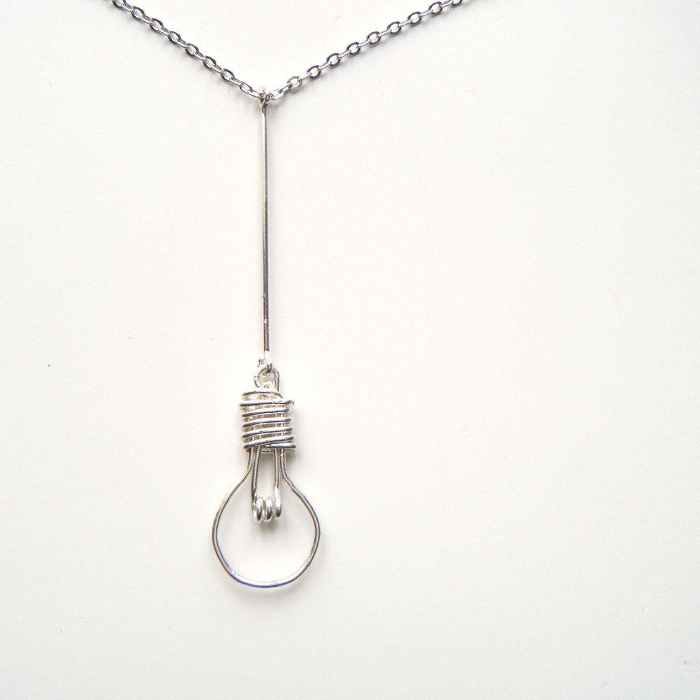 Lightbulb Necklace - Light Bulb Necklace, Light Bulb Pendant, Nerd ...