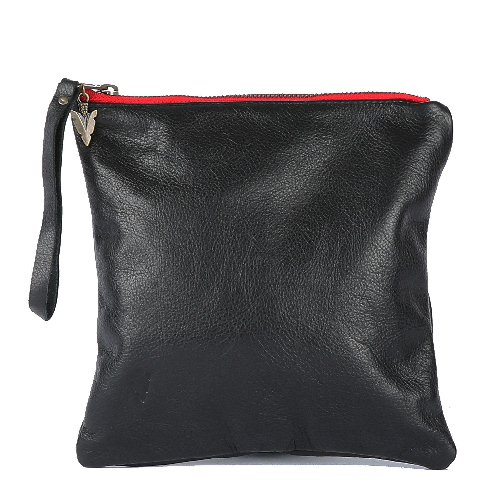 Medium Clutch in Black Leather