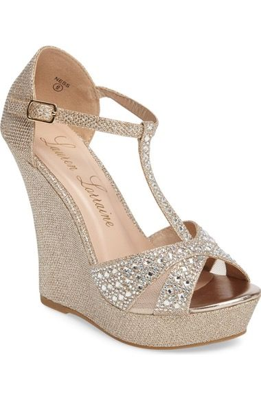 Lauren Lorraine Ness Crystal Embellished Wedge Sandal (Women) available at  #Nordstrom
