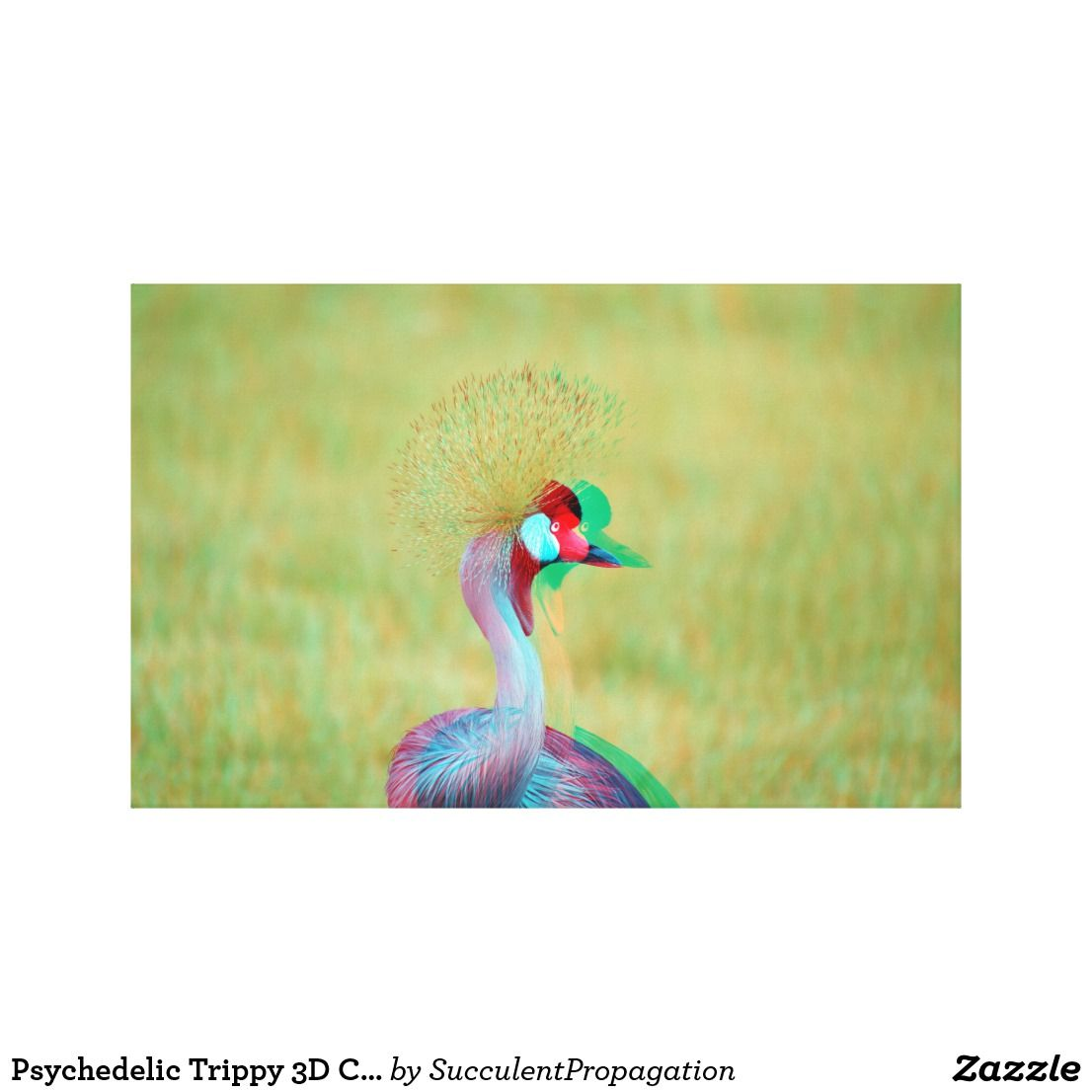 Psychedelic Trippy 3D Crowned Crane Bird canvas Wall art | Home ...