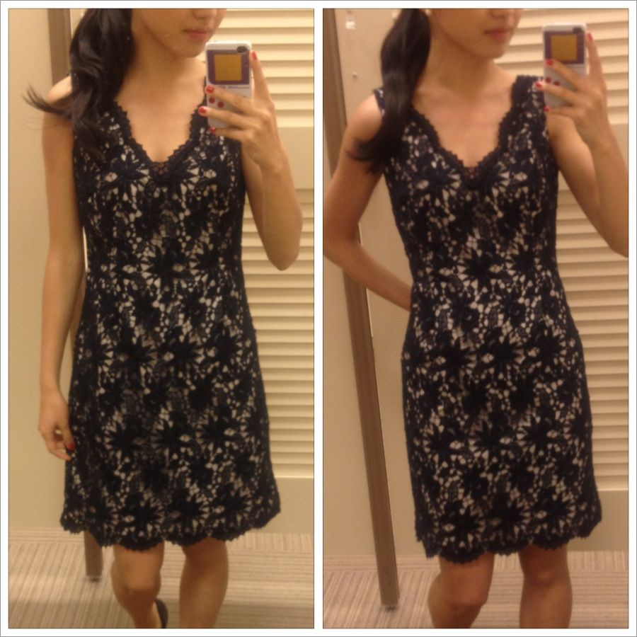 Ann Taylor Outlet Vintage Crochet Lace Dress in Navy | Navy Outfits ...