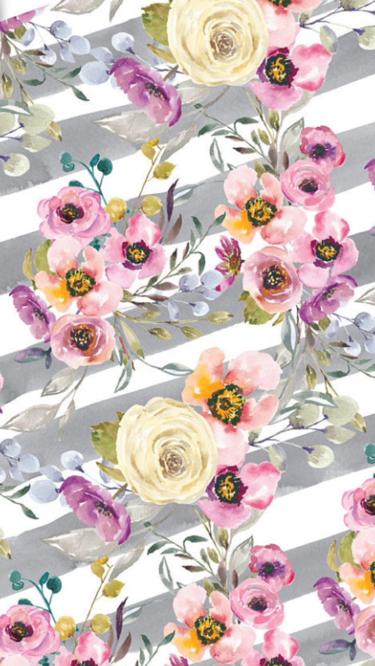Gray white stripes floral poster art in 2019 Floral