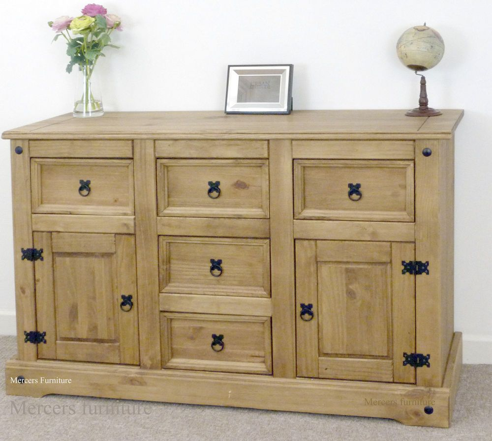 Corona Large Sideboard 2 Door 5 Drawer Solid Mexican Pine By Mercers