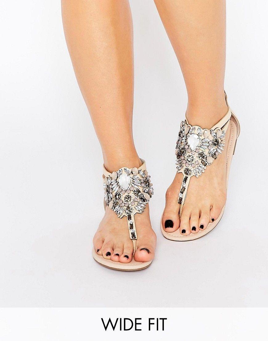 Look Wide Fit Embellished Flat Sandal