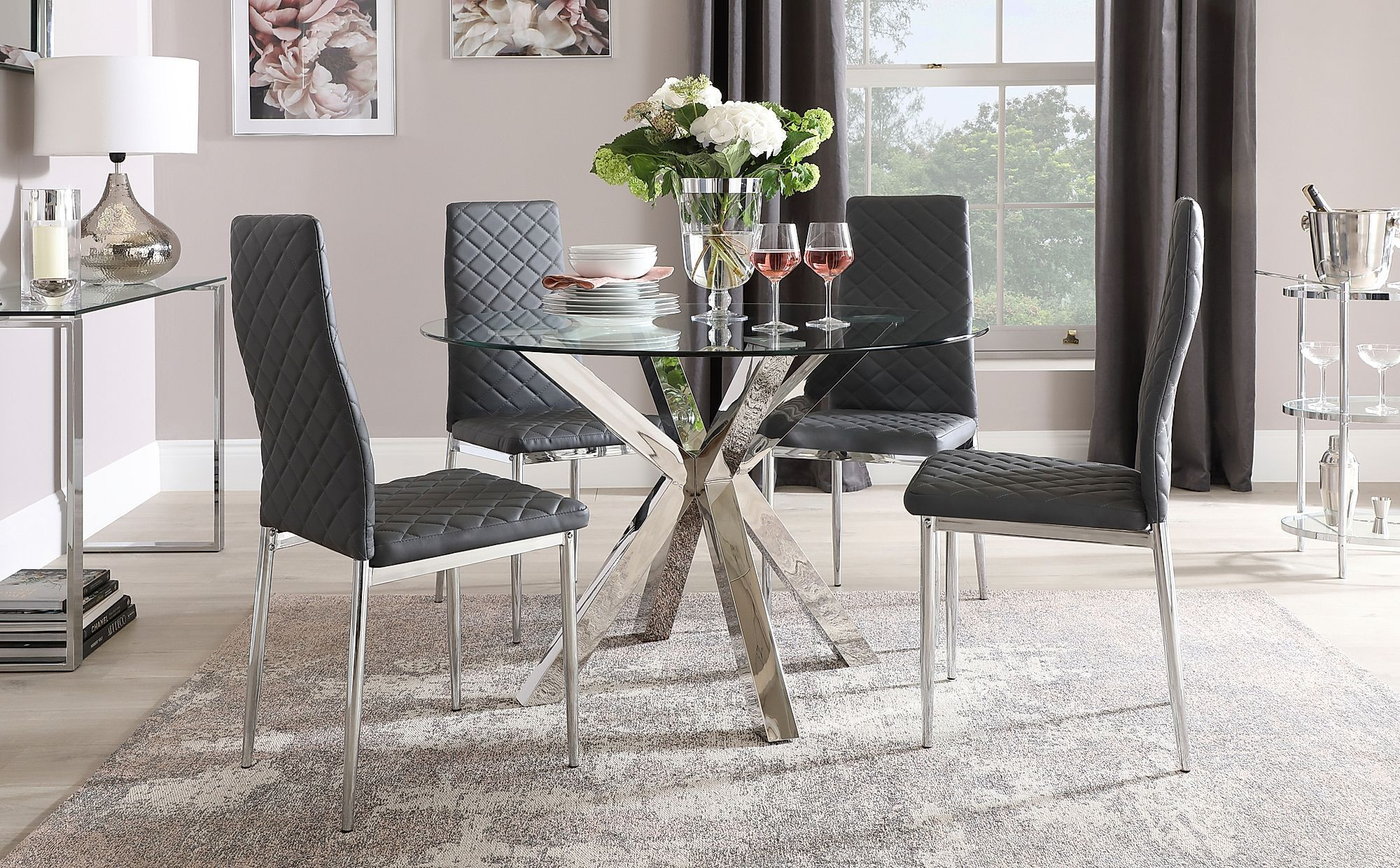Plaza Round Chrome And Glass Dining Table With 4 Renzo Grey