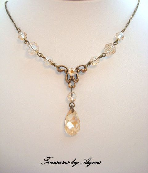 Bridal necklace crystal necklace wedding jewelry by treasures570, $45.00