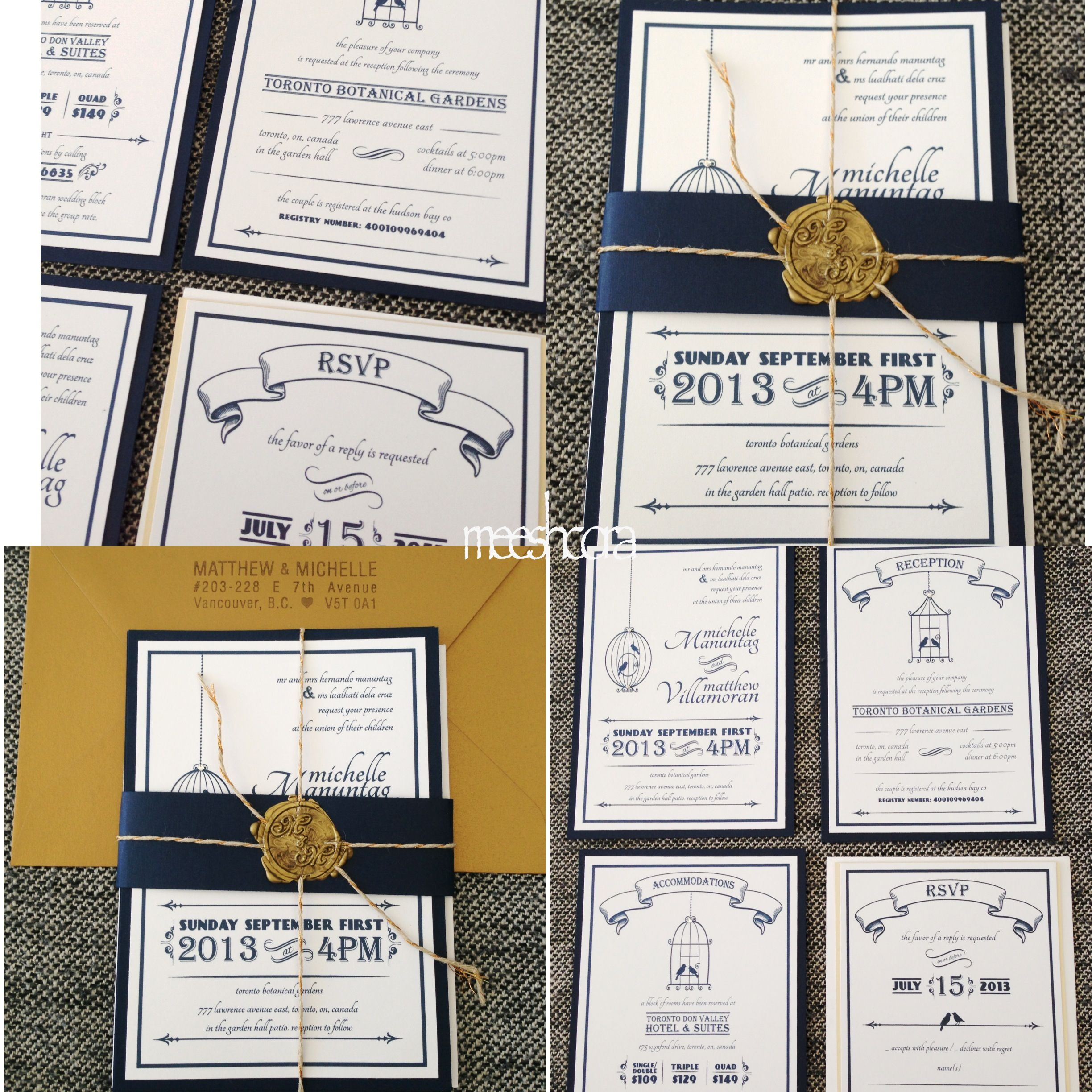 DIY gold and navy blue birdcage wedding invitations with custom made ...