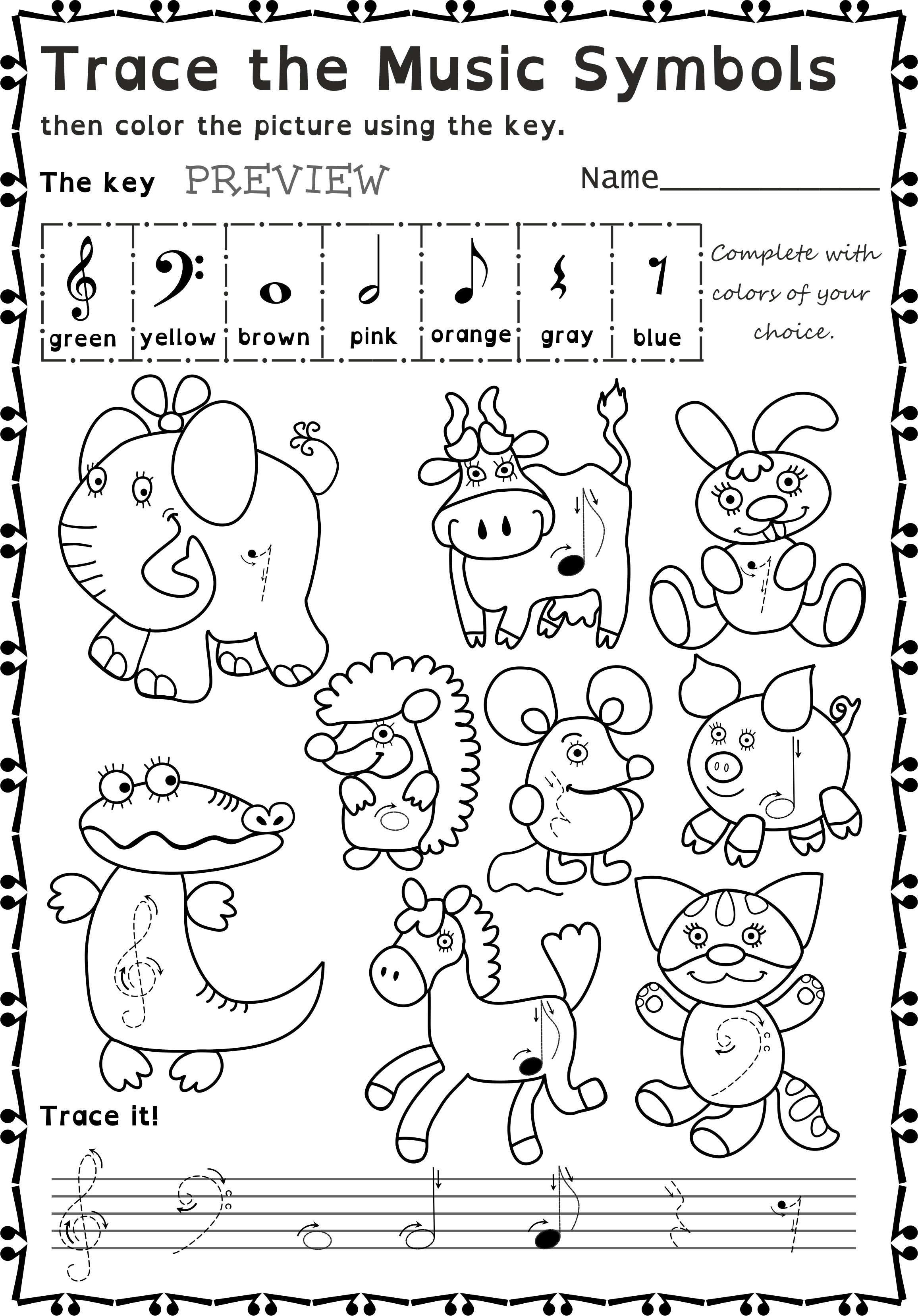 Music Symbols Trace And Color Worksheets For Beginners