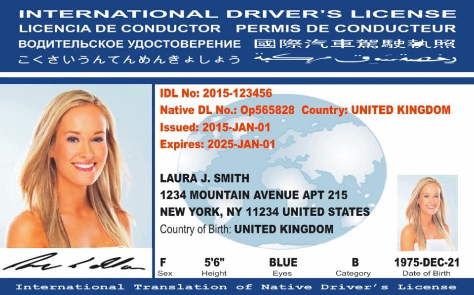 International drivers license sample from IDL TRAVEL www