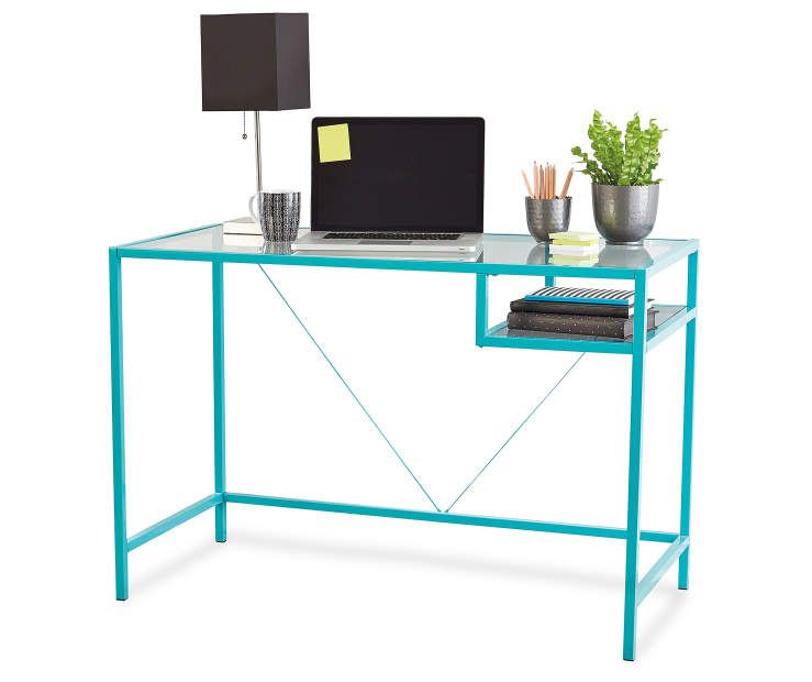 Aqua Glass Desk At Big Lots Glass Desk Aqua Glass Glass Furniture