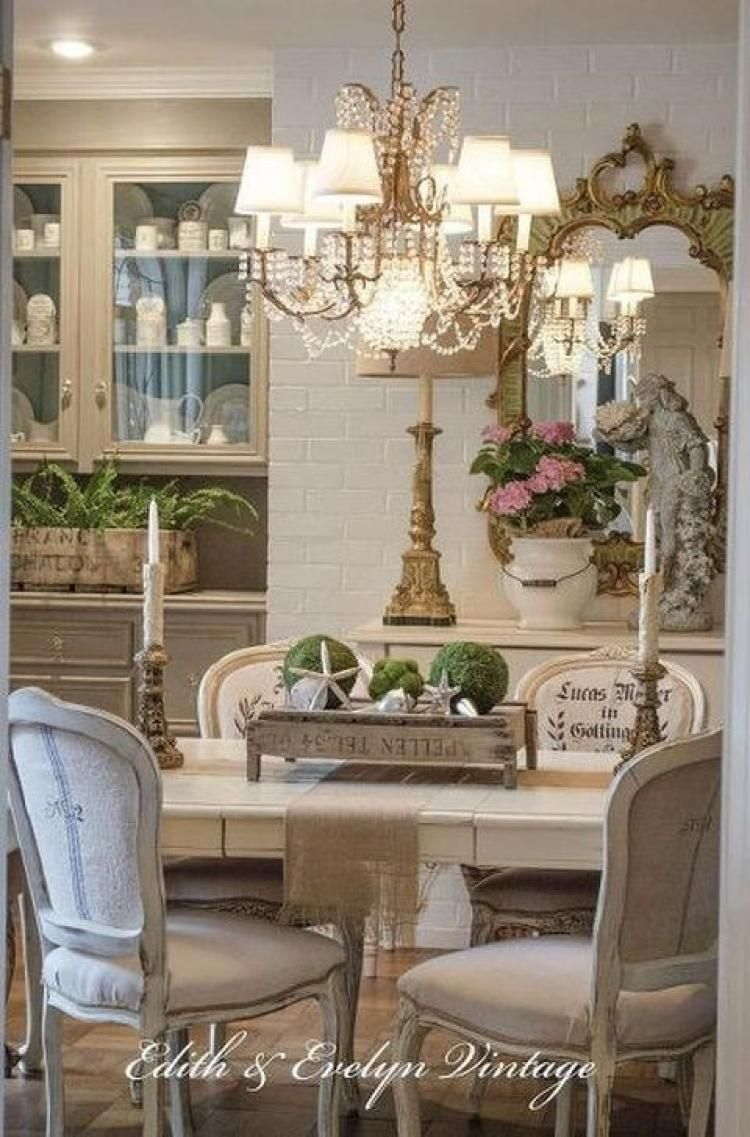 Stylish Farmhouse Dining Room Table Decorating Ideas French