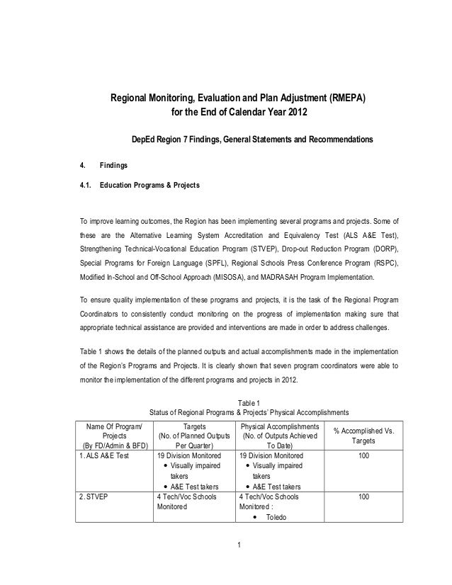 Regional Monitoring Evaluation And Plan Adjustment RmepaFor The