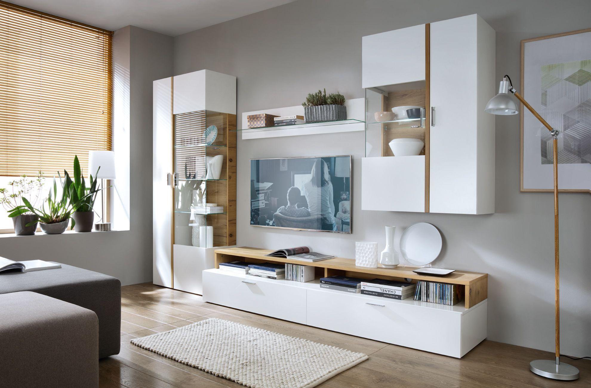 wohnwand nussbaum furniert, wohnwand weiss lackiert mit absetzung in eiche furniert woody 19, Design ideen