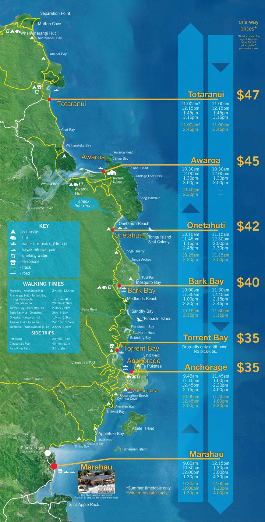 Marahau Water Taxi Map Route | Abel tasman, Tasman, Trip