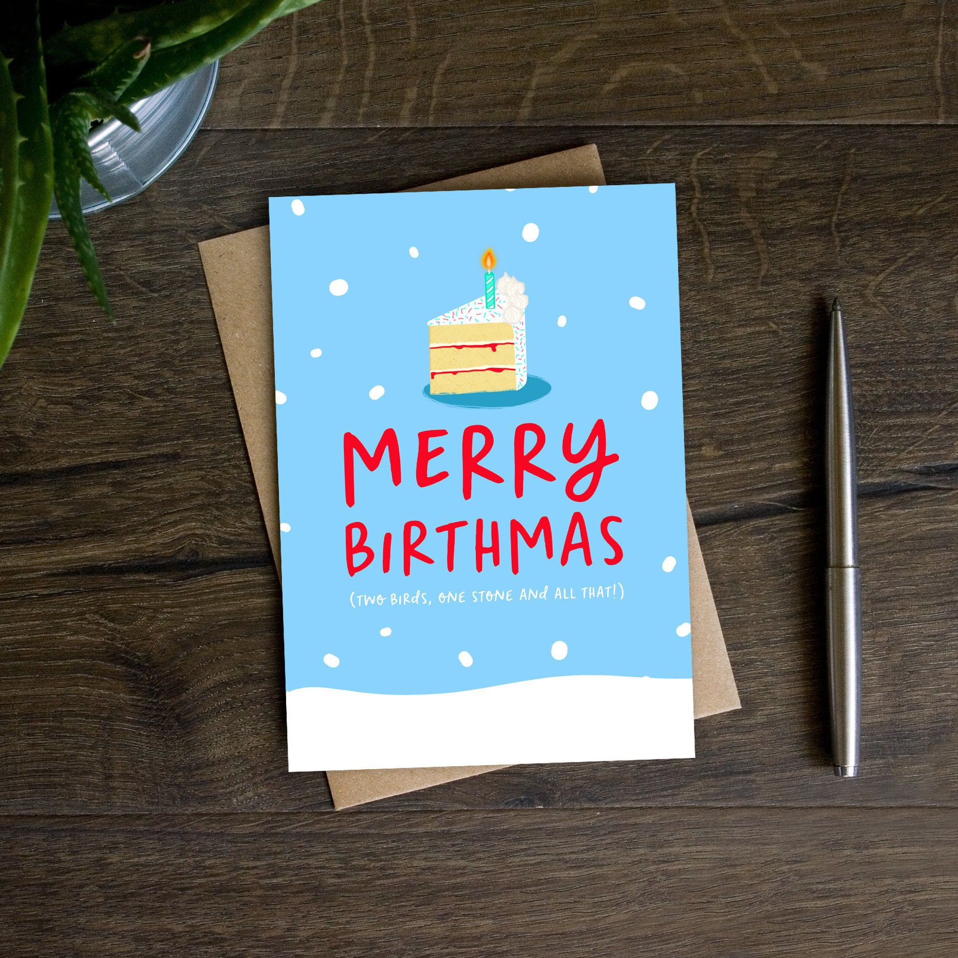 Funny December Birthday Card Merry Birthmas Christmas Etsy Christmas Birthday Cards December Birthday Birthday Cards For Brother
