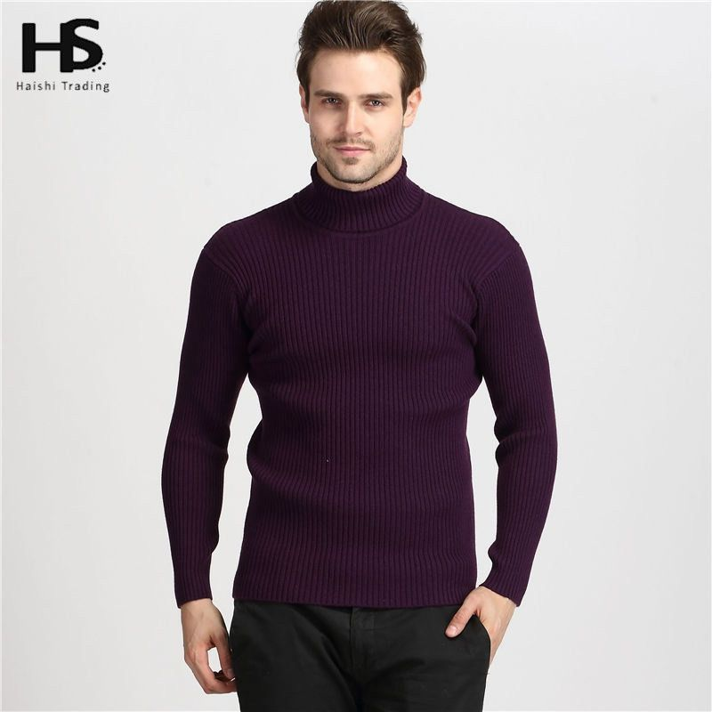 Men Turtleneck Men Brand Mens Sweaters Slim Fit Pullover Men Knitwear Double collar