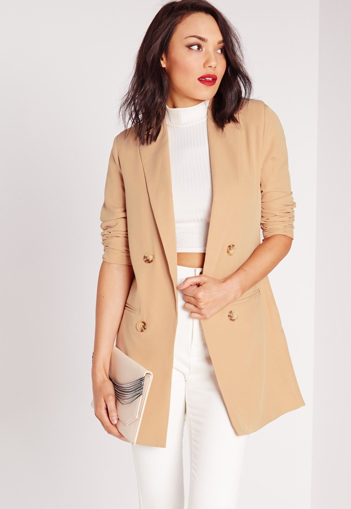 8016a28320b2 Missguided - Double Breasted Blazer In Camel - $20 | Women's Suits ...