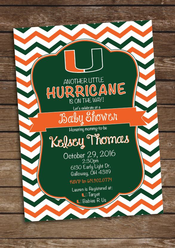 Pin By Chelsee Ford On Invitations   Pinterest   Hurricanes Football, Football  Baby Shower And Football Baby Shower Invitations