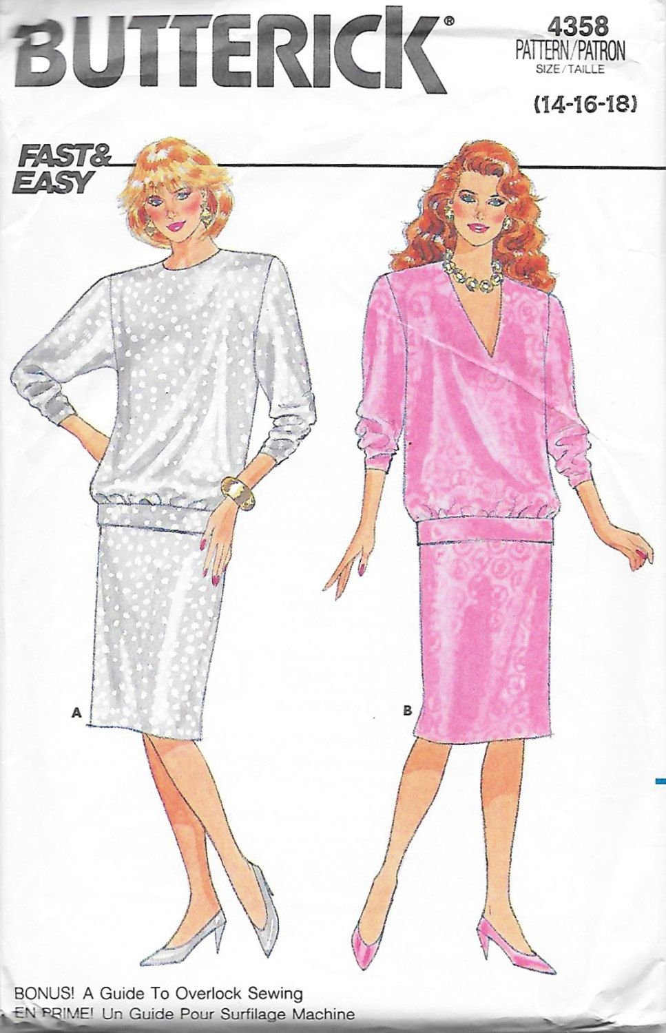 Butterick 4358 Women\'s 80s Pullover Blouson Top & Straight Skirt ...