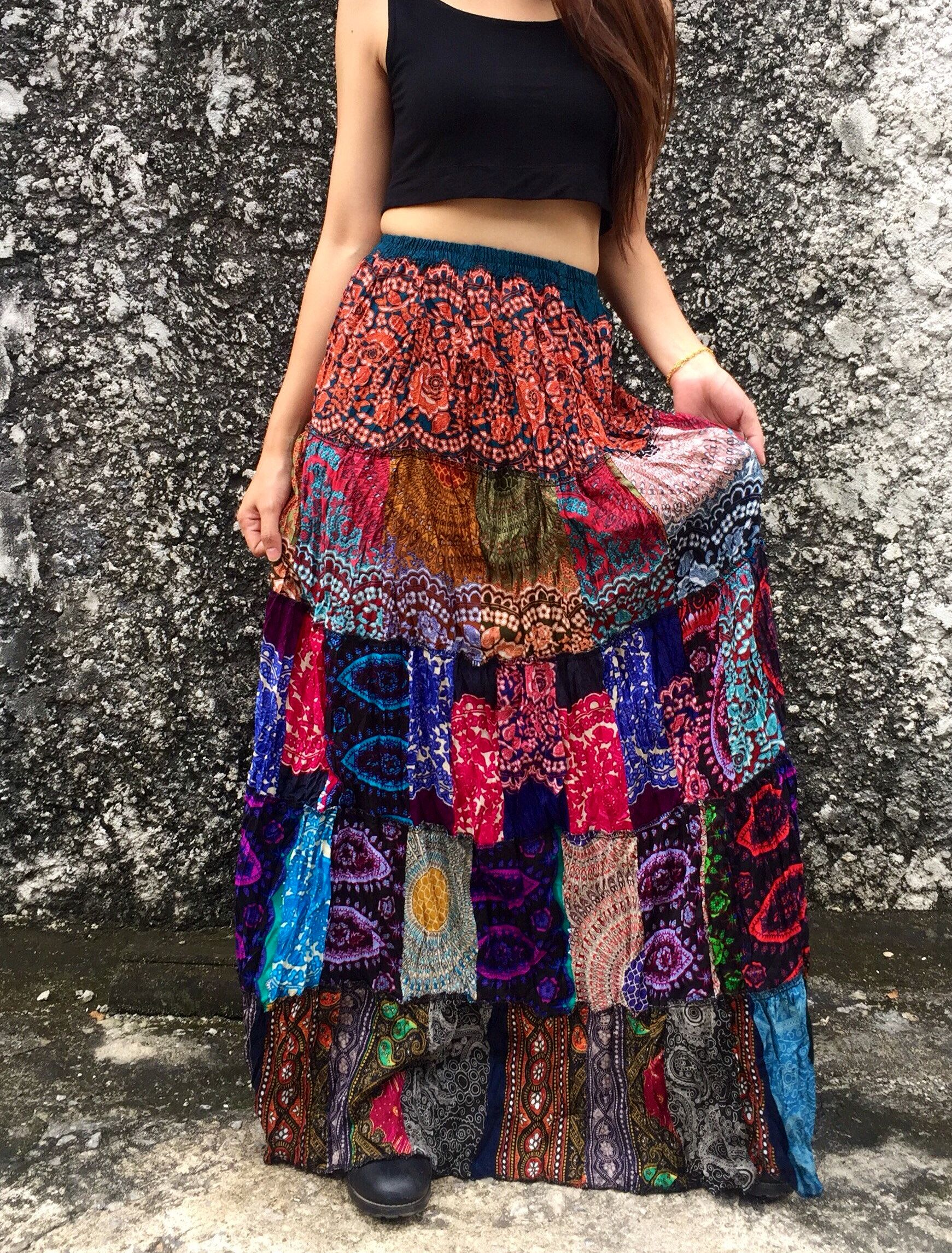 f641aa2b24f 20  Patchwork Maxi Skirt Bandeau Dress Elephant Hippie Vegan Boho chic  bohemian style Beach Festival Clothing unique gift for girl women