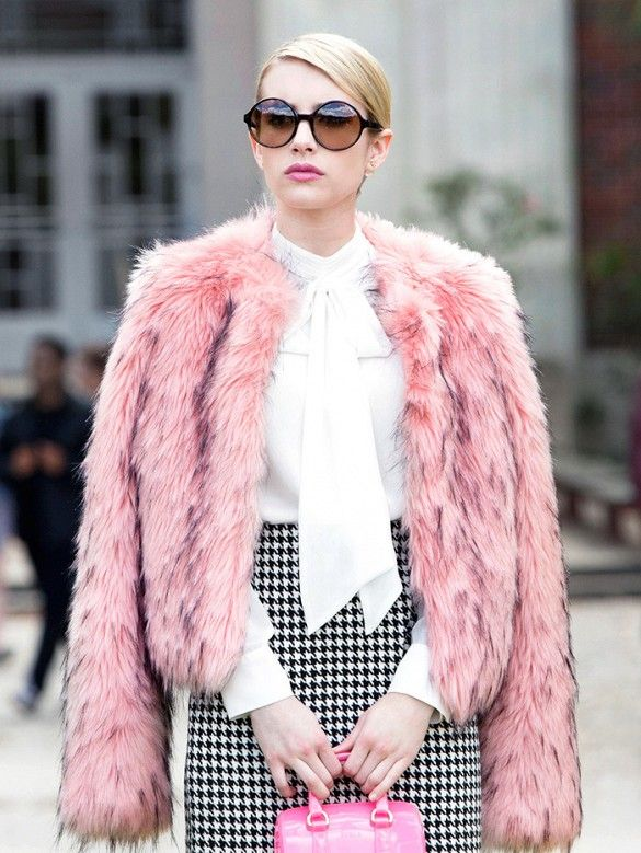 Emma Roberts on the set of Scream Queens in the Lula Faux-Fur Jacket | GUESS by Marciano
