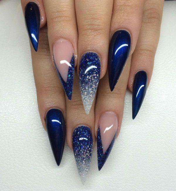 10 Fearless Stiletto Nail Art Designs 2016 Blue Gel Nails Blue Acrylic Nails Navy Nails