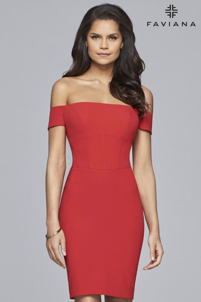 d5d11ce79e5 Style S10167 from Faviana Glamour is a short off-the-shoulder cocktail dress  that is flattering for all body types and features a pencil-cut silhouette.