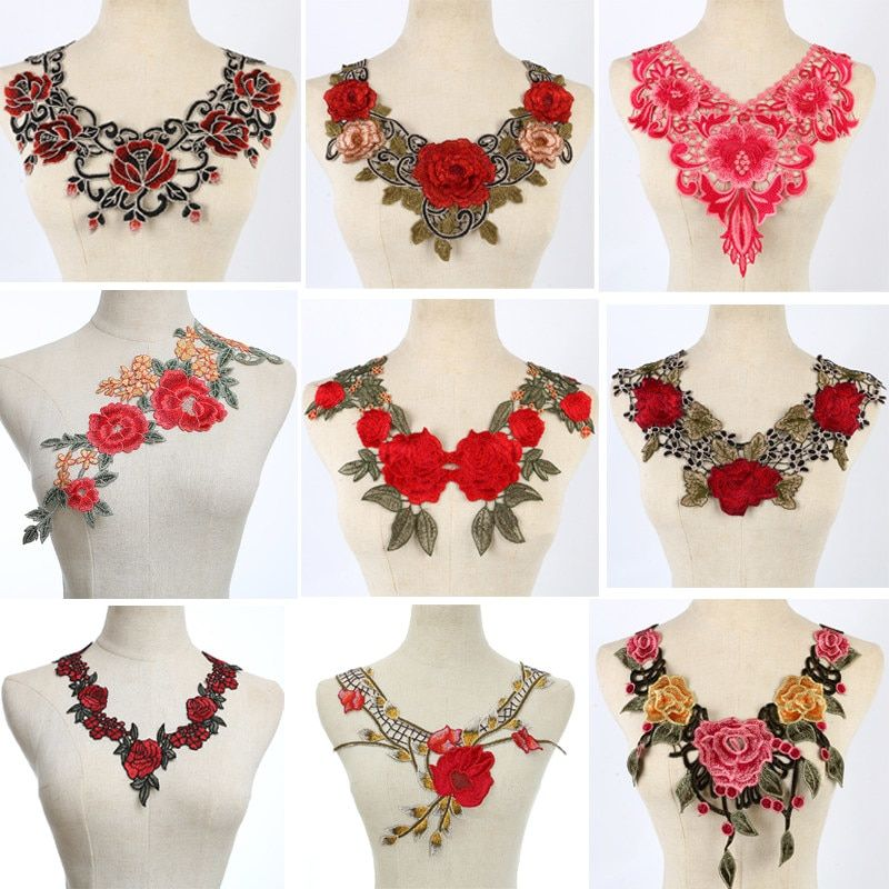 1Pcs Venise Red Lace fabric Dress Applique Motif Blouse Sewing Trims DIY Neckline Collar Costume Decoration Accessories