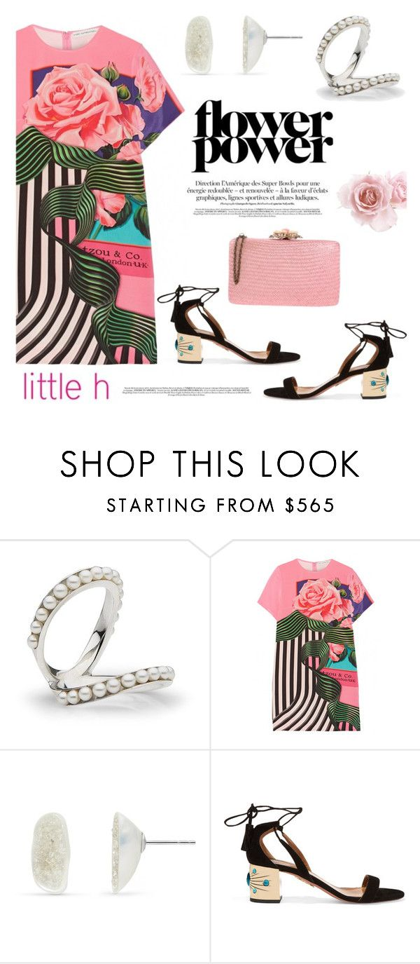 """Flower Power by Littleh Jewelry"" by littlehjewelry ❤ liked on Polyvore featuring Mary Katrantzou, Aquazzura, Serpui, women's clothing, women, female, woman, misses and juniors"