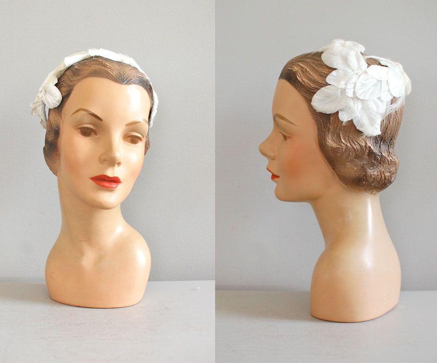 1950s Hat 50s Fascinator Bridal Feather Leaf