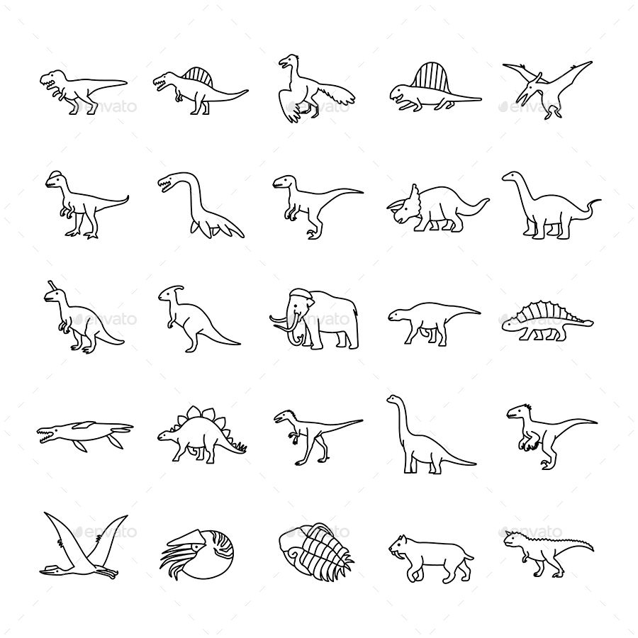 Prehistoric Animals Outlines Vector Icons Animal Outline Dinosaur Tattoos Friend Tattoos