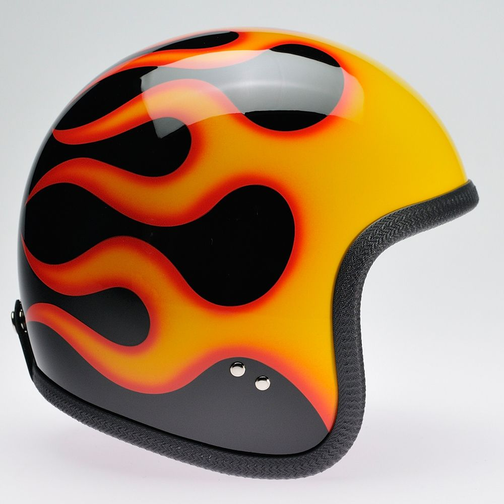 Bell custom 500 gloss black vintage low profile helmet chopper harley - Black Orange Flames Davida 92 Helmet