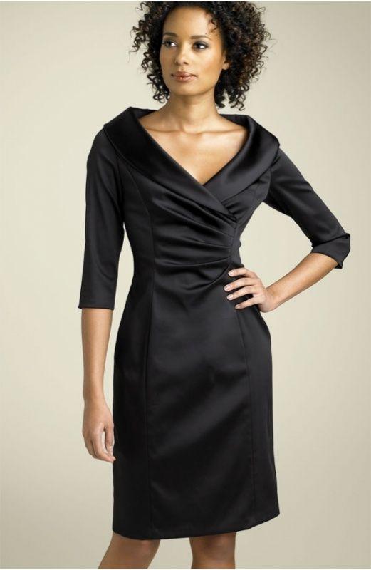 Low Price Little Black Dress For Juniors Half Sleeve Satin Formal