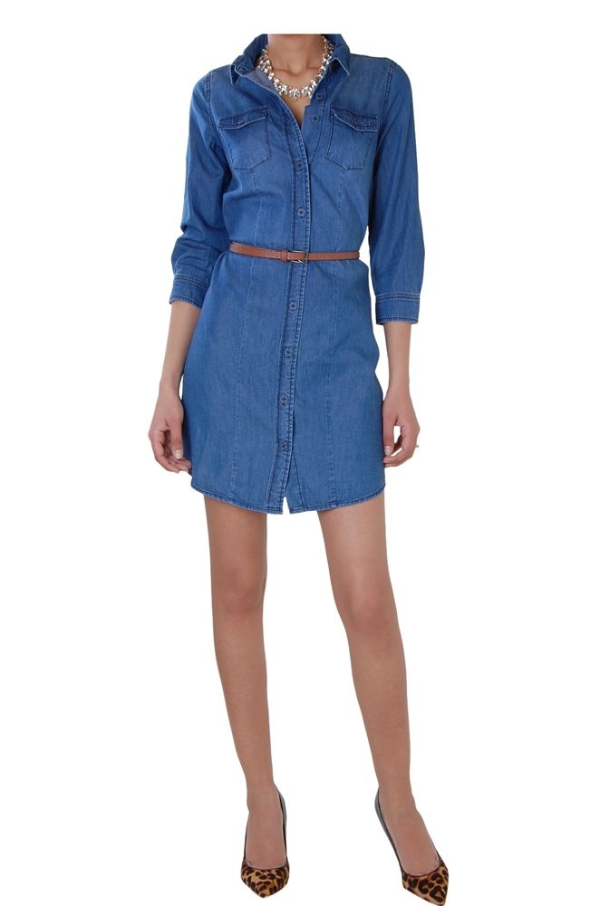 This lightweight long sleeve chambray shirtdress comes