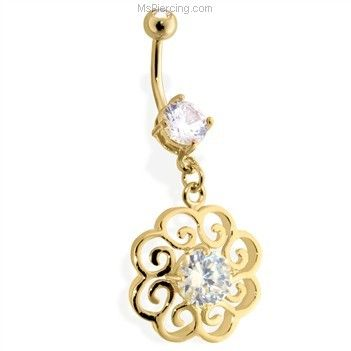 14Kt Golde Plated Flower Navel Ring With Single CZ Stone In Center