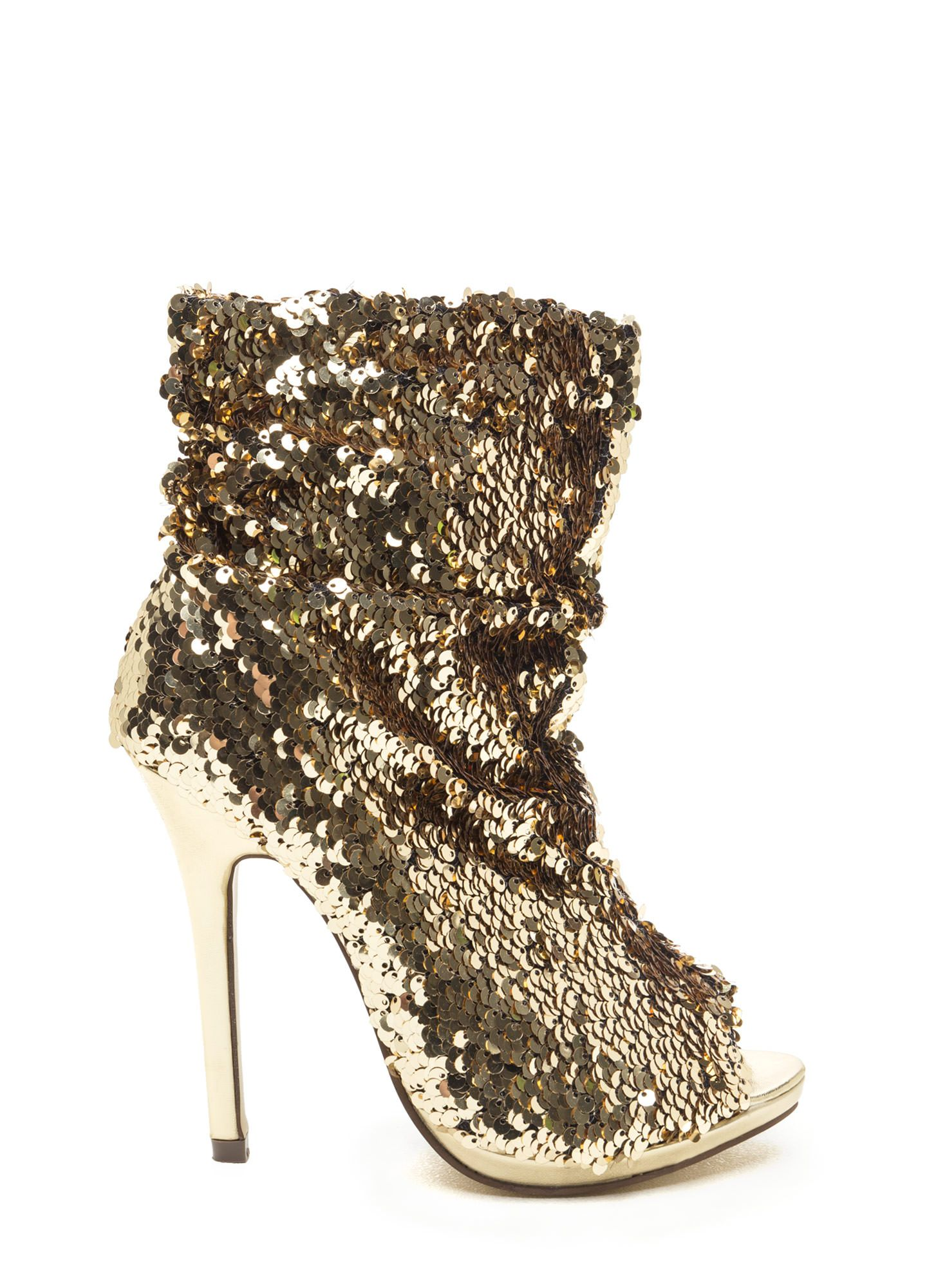 Sequin Seekers Slouchy Booties GOLD BLACK - GoJane.com   Shoes and ...