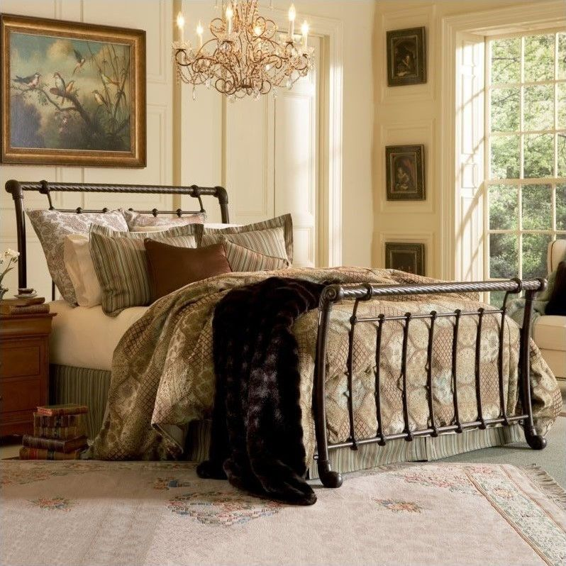 Lowest Price Online On All Fashion Bed Legion Metal Sleigh Bed In Ancient Gold With Images