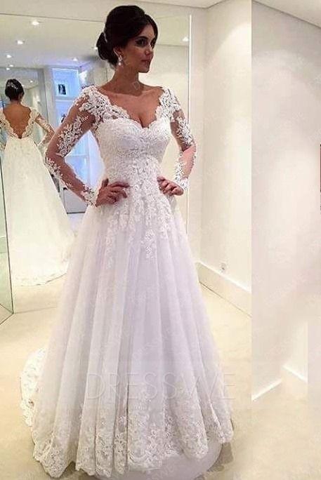 Sexy Long Sleeves Appliques Deep V-Neck A-Line Wedding Dress