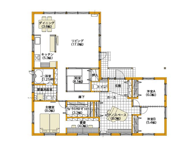 平屋建てl型プランで平屋の間取りデメリットを解消した家 間取りプラン 間取り 平屋 間取り 40坪 住宅 間取り