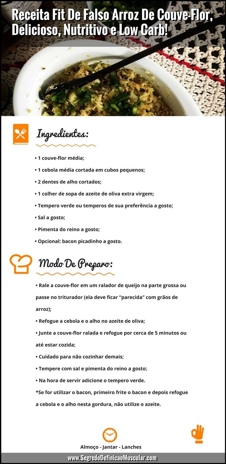 Receita Fit De Falso Arroz De Couve Flor Delicioso Nutritivo E