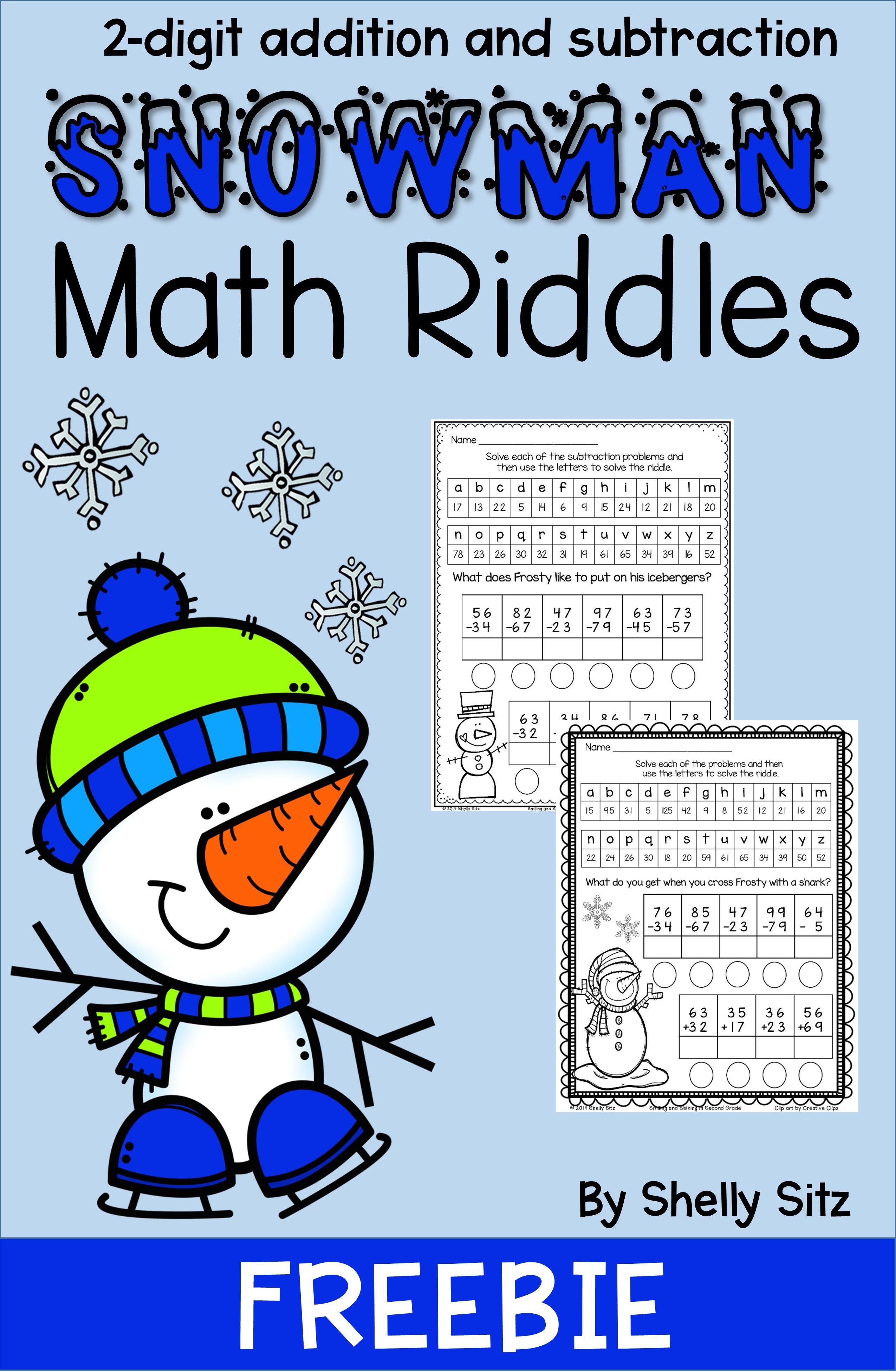 Snowman Math Riddles Math Riddles Snowmen Math Winter Math Activities [ 3900 x 2550 Pixel ]