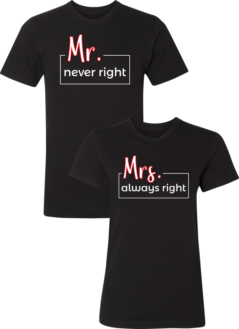 2e4fb82e Mr. Never Right Mrs. Always Right Shirts / Matching Couples Apparel / Matching  Couples Shirts / Matching Couples Hoodies