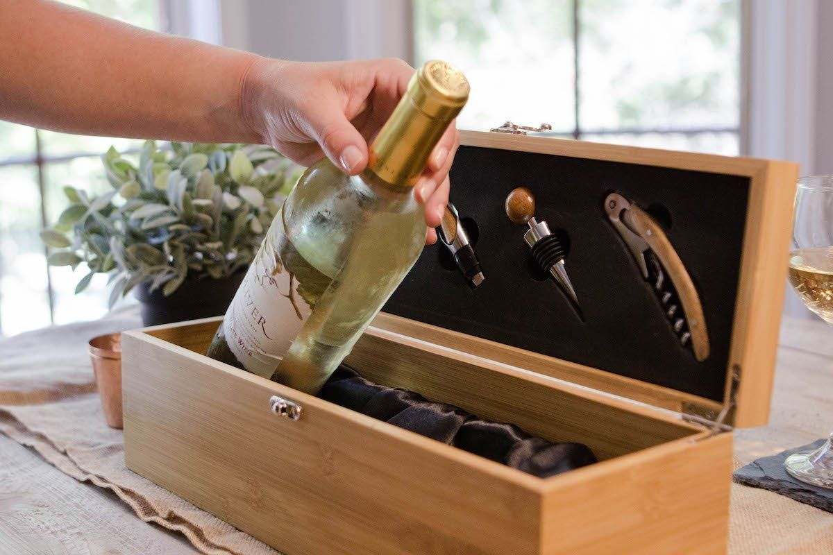Amazon Com Solid Bamboo Wine Gift Box Set By Case Elegance Bar