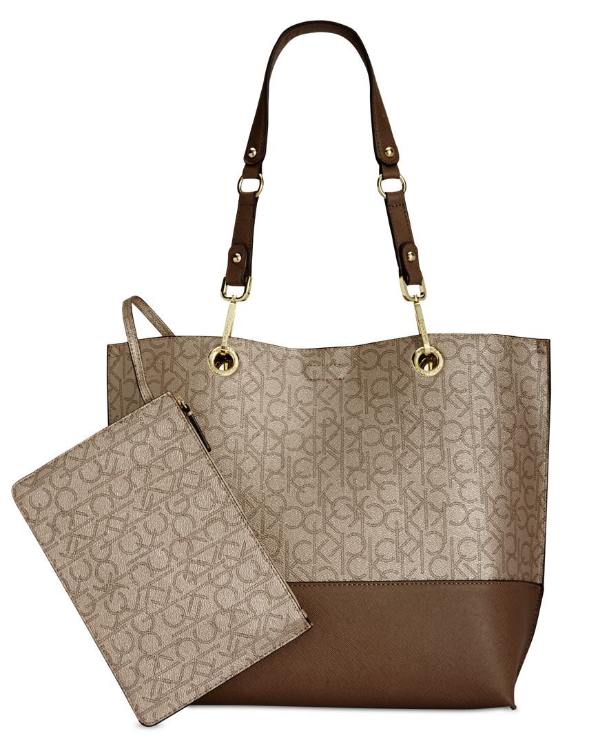 bc1bb2caa9 Calvin Klein Signature Reversible Tote With Pouch - Calvin Klein - Handbags  & Accessories - Macy's