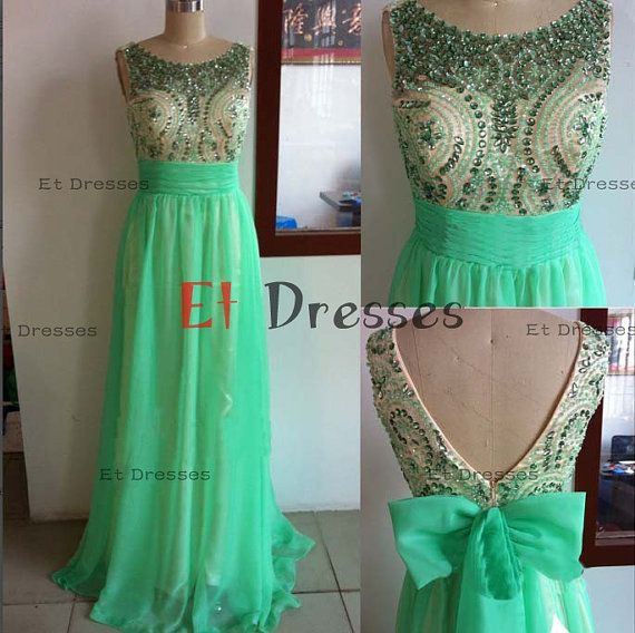 V-back sleeveless top crystal beads chiffon with bow evening dress ,prom dress