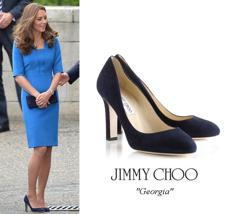 01582583caf3 Too chunky of a heel for Kate   this dress. Jimmy Choo  Georgia  navy suede  pumps