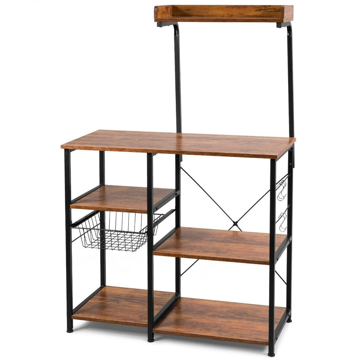 4 Tier Kitchen Baker S Rack With Basket And 5 Hooks Bakers Rack