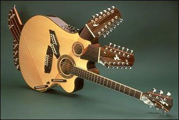 "Double neck guitars are old hat, so make way for the Pikasso, a 42-sting guitar that was borne out of a challenge to make a guitar with ""as many strings as possible."" The guitar has four necks and two sound holes. The Pikasso took two years and over a thousand man hours to build."