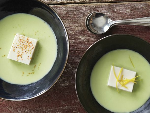 Silken tofu and edamame soup.