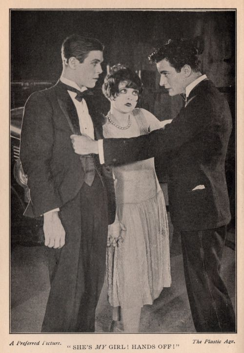 "Clara Bow with Donald Keith & Gilbert Roland in ""The Plastic Age."" 1925"